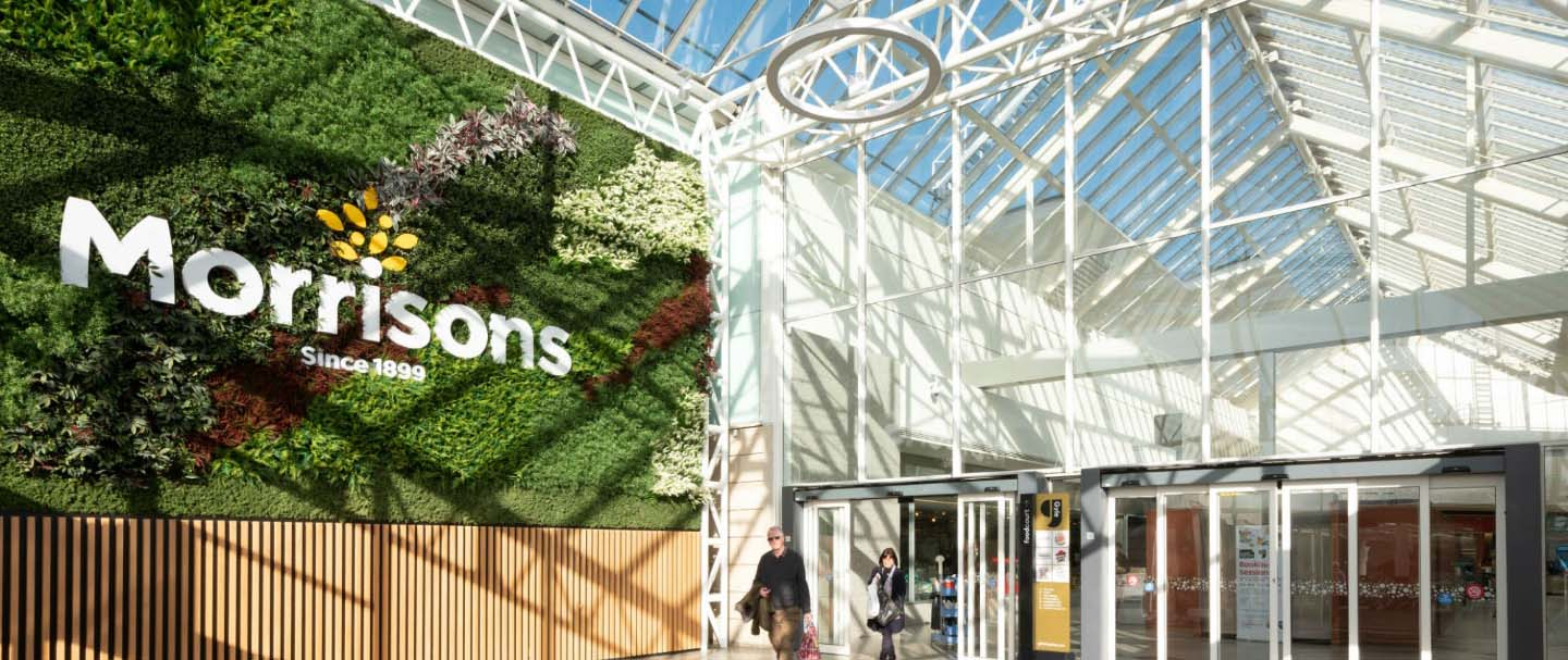 Gyle shopping centre's huge oversized green wall welcome shoppers – part of the biophilic design elements softening the space