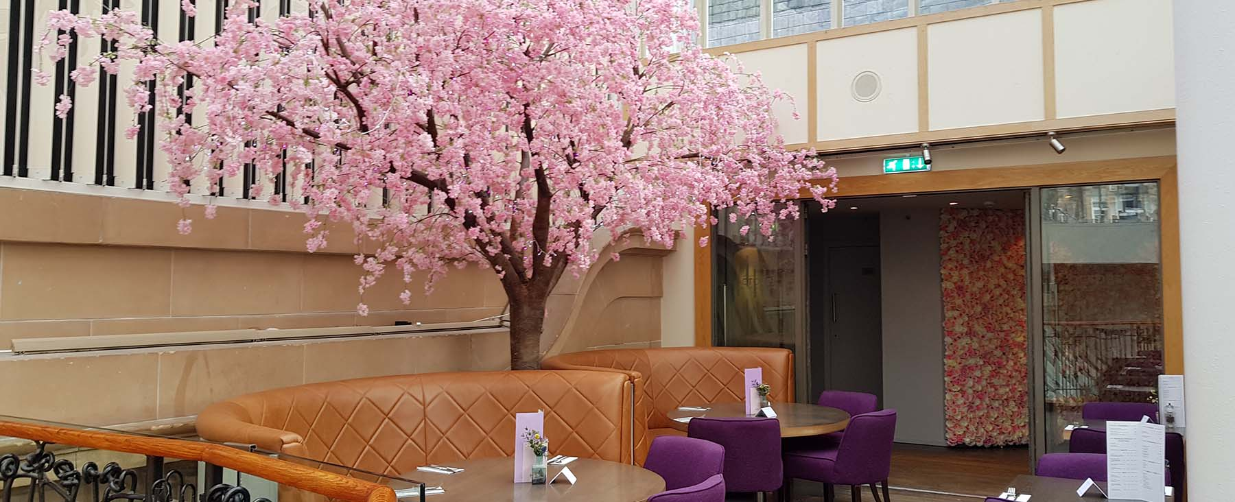Giant artificial cherry blossom tree and pink rose filled selfie wall decorate the October cocktail bar in Glasgow's Princes Square
