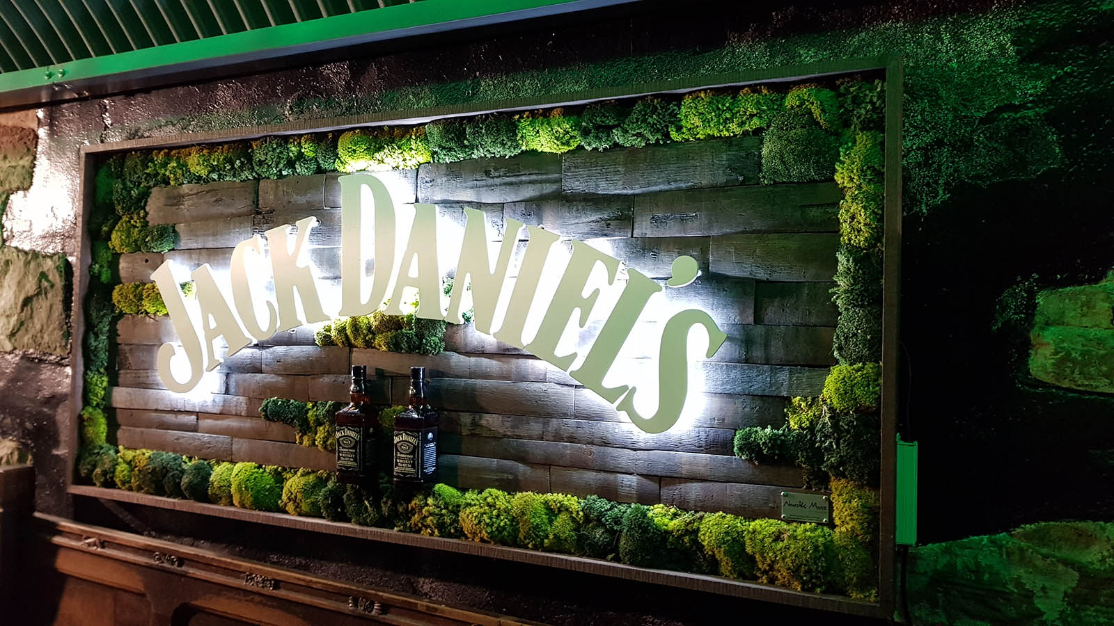 Bannerman's Edinburgh bespoke sign incorporating reclaimed barrel staves, Nordik Moss and back-lit Jack Daniels branding