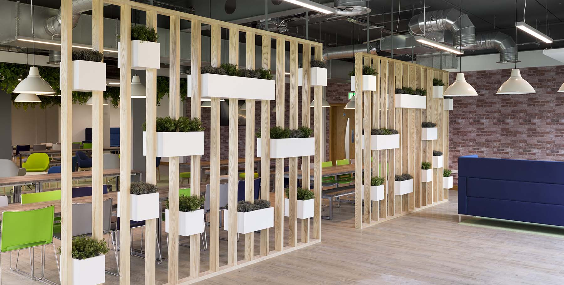 Artificial foliage planted in wooden troughs incorporated into a timber divider wall in a modern office breakout area