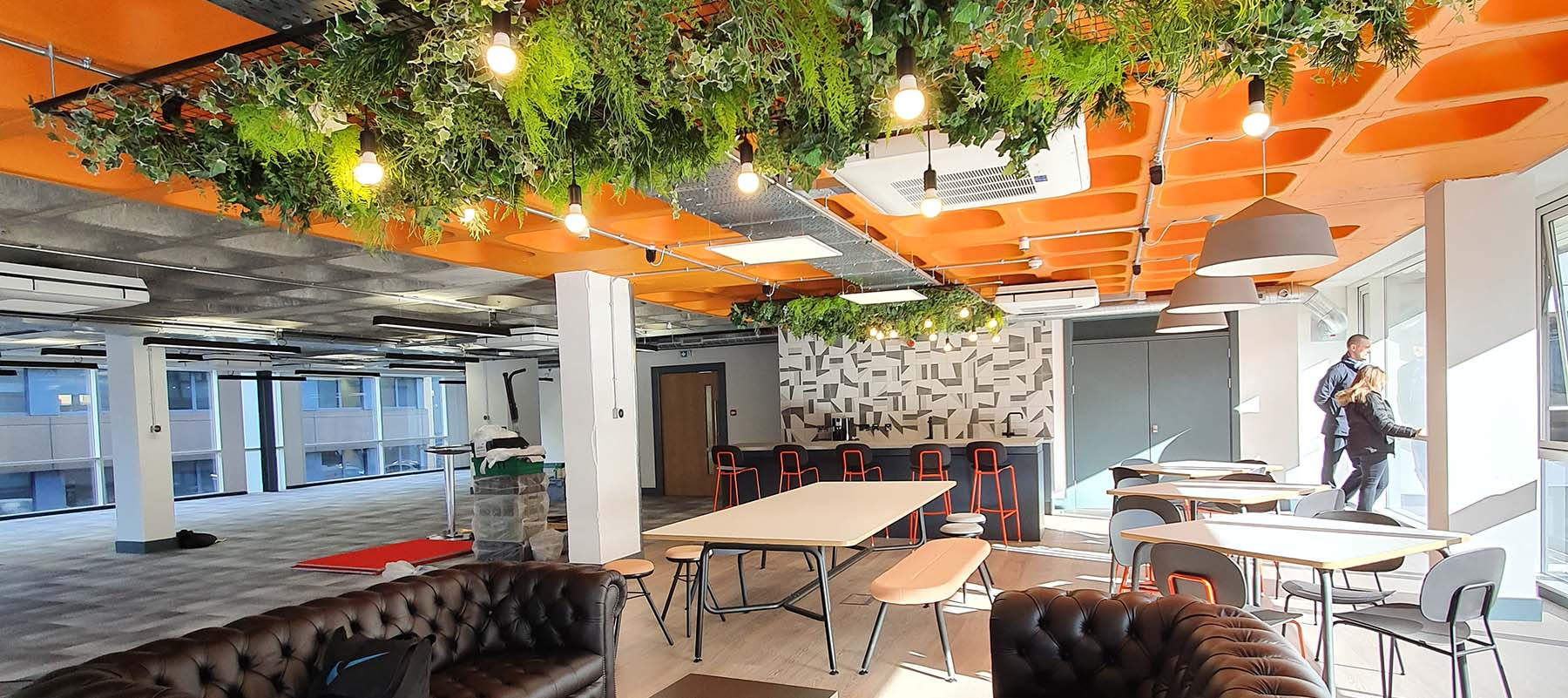 Modern city centre office space featuring green ceiling sections of mixed artificial trailing ivies, plants and ferns
