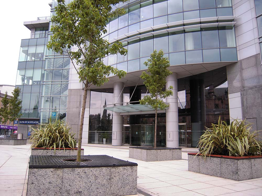 Edinburgh city centre office plaza landscaped with tall Prunus trees and planting in raised flower beds