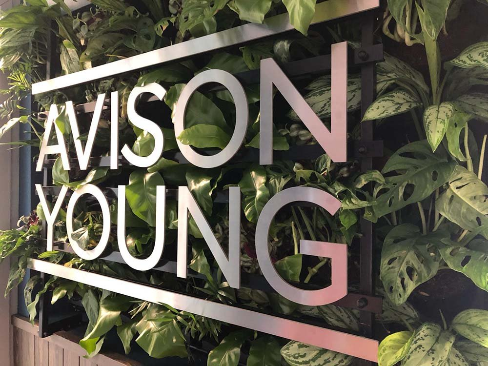 Living wall of lush plants with bespoke Avison Young silver branding in office reception area