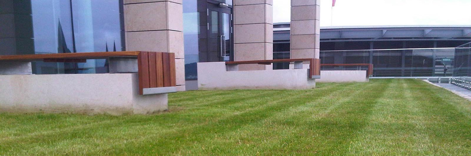 Landscaped lawns neatly mown with stripes on an Edinburgh city centre roof terrace with glass balustrades