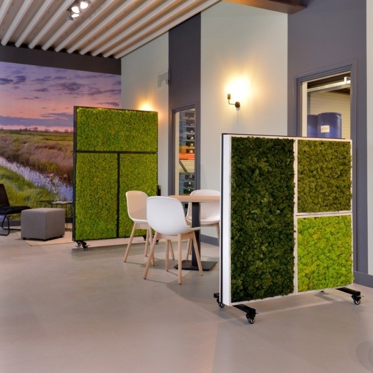 Free-standing, mobile Moss wall panels providing flexibility when dividing office space to accommodate social distancing