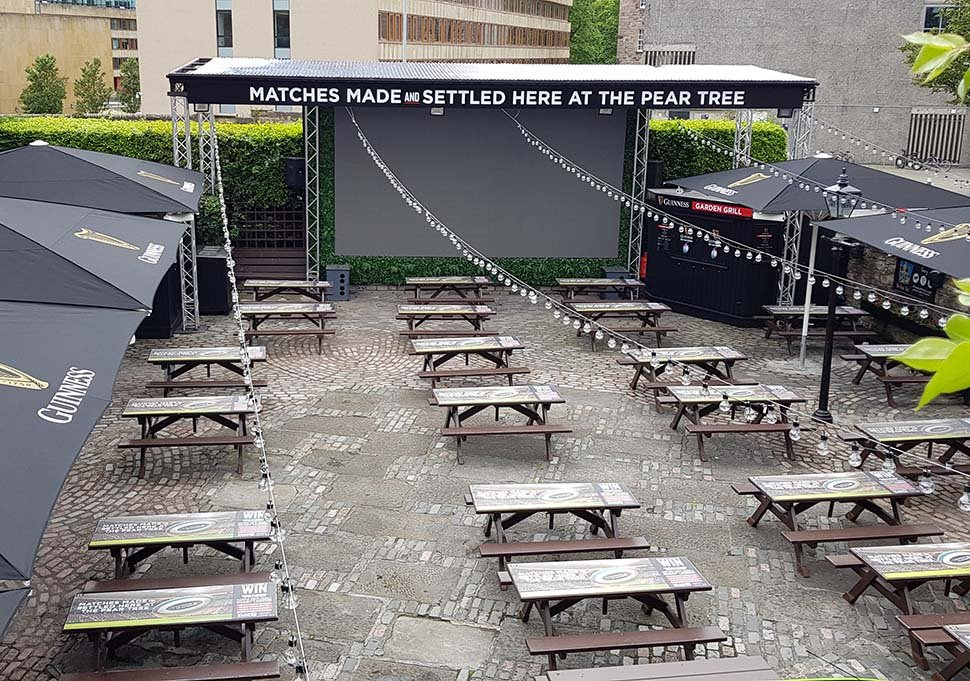 Edinburgh beer garden protected by huge Guinness sponsored parasols is a popular venue with a big outdoor screen, Outdoor Dining